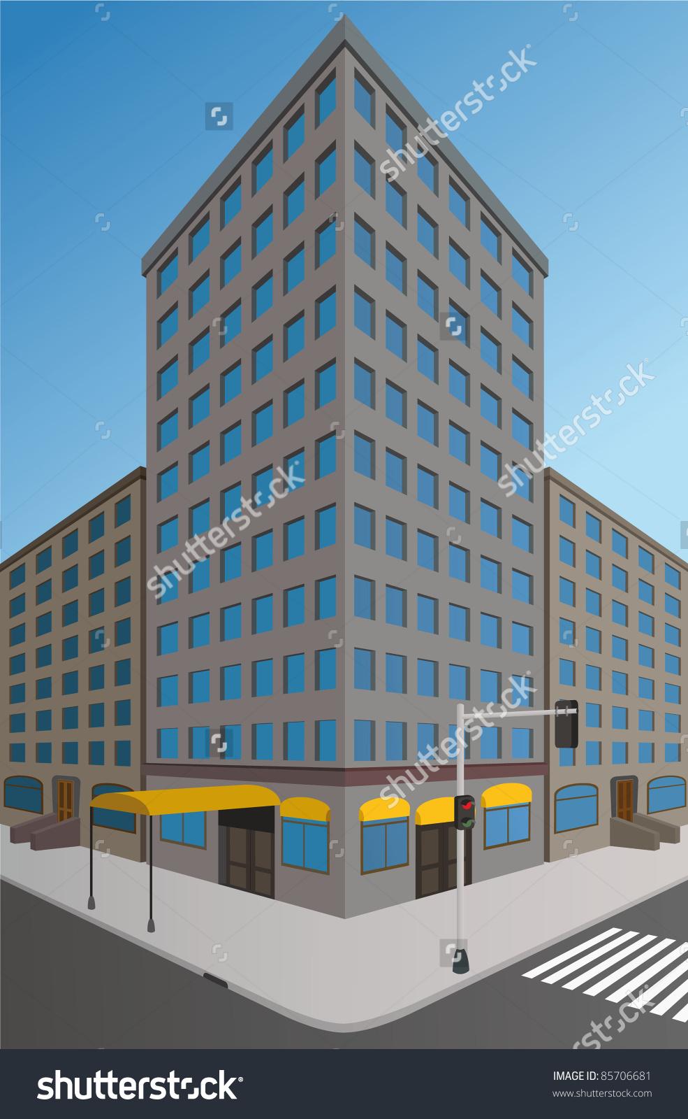 Corner Street Perspective Stock Vector 85706681.