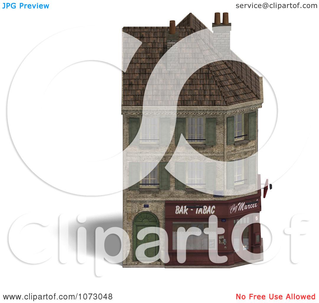 Clipart 3d Vintage Corner Bistro Building 1.