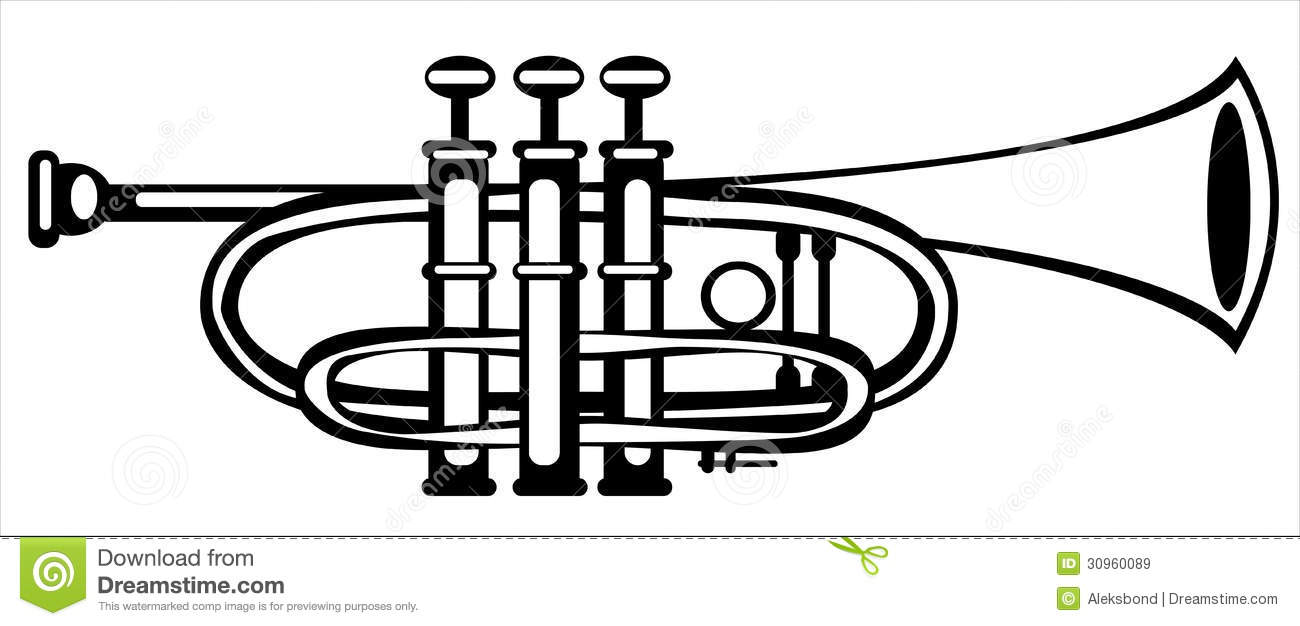 Vector Illustration Tuba Cornet On White Royalty Free Stock Images.