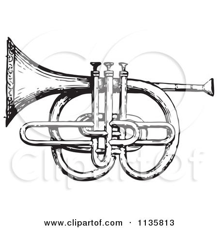 Clipart Of A Retro Vintage Cornet And Pistons In Black And White.