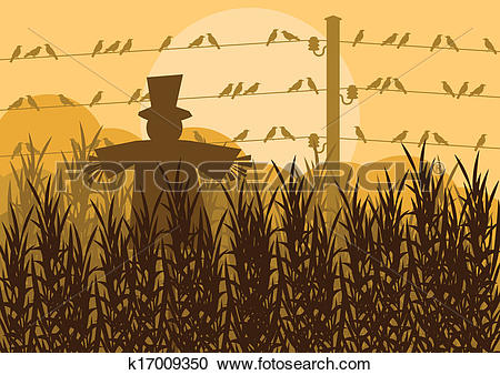 Clipart of Scarecrow in corn field autumn countryside landscape.