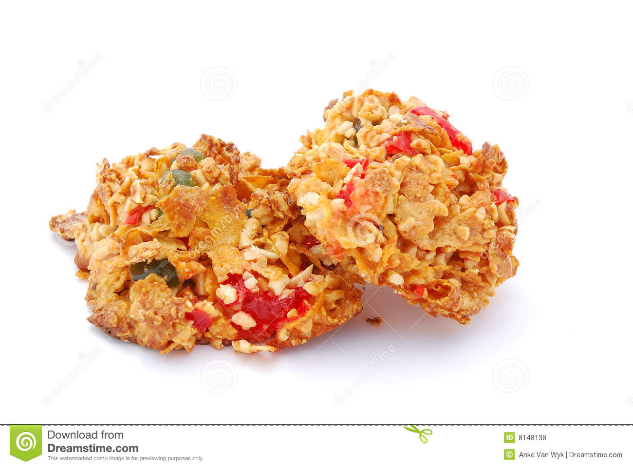 Cornflakes Cookies With Almond Strips Royalty Free Stock Images.