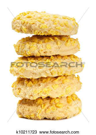 Stock Photo of Homemade Cookies With Cornflake Chips k10211723.