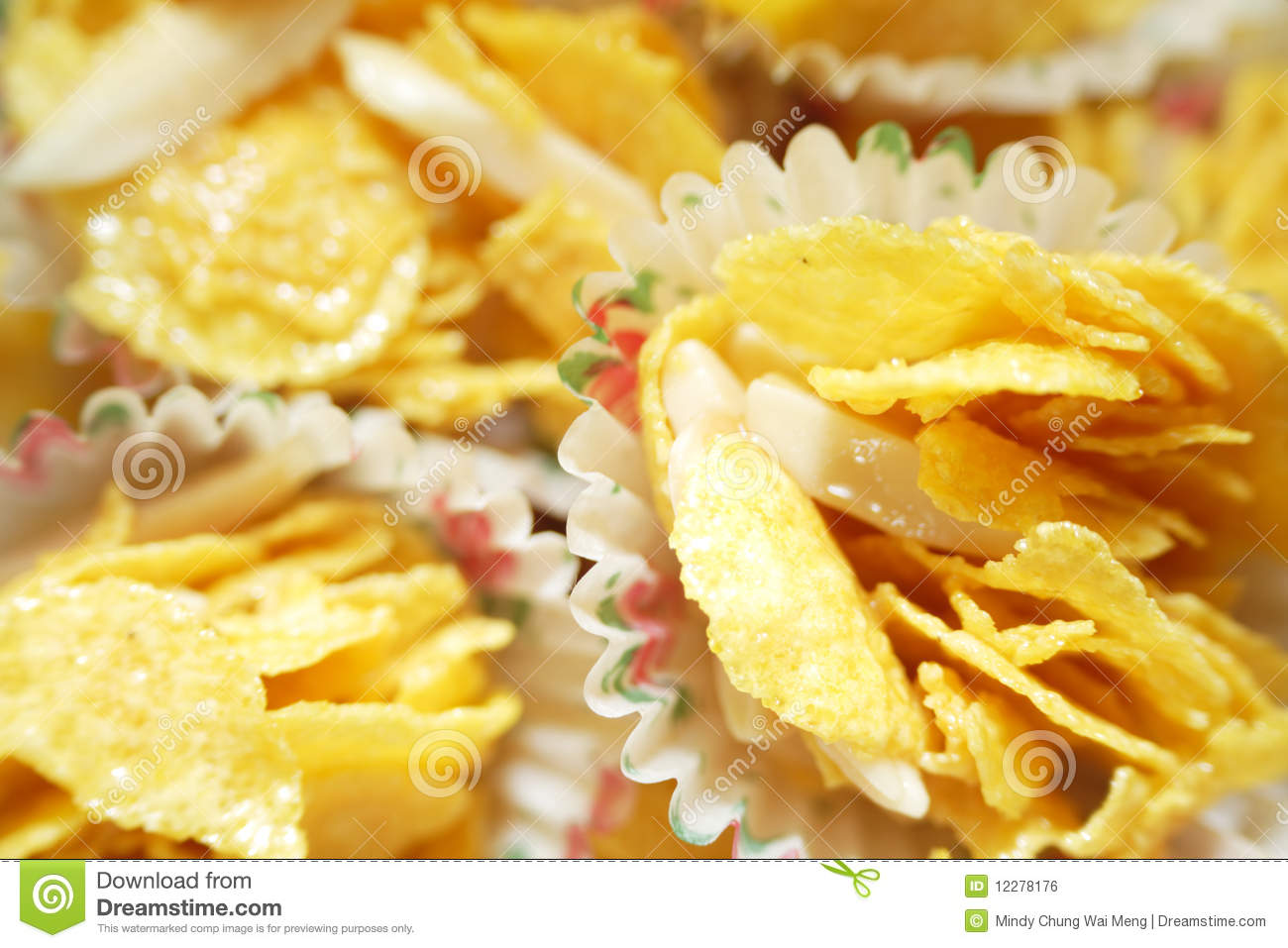 Cornflakes Cookies With Almond Strips Royalty Free Stock Image.