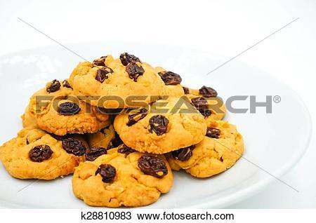 Stock Photo of Raisin and cornflake cookies k28810983.
