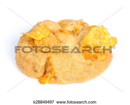 Picture of Raisin and cornflake cookies on white background.