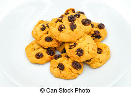 Stock Image of Raisin and cornflake cookies on white background.