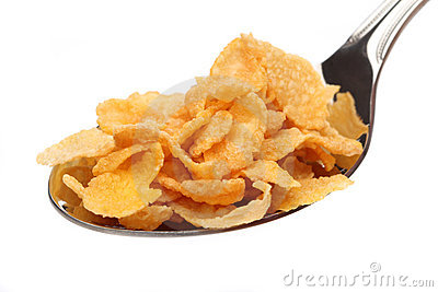 Spoon With Corn Flakes Stock Images.
