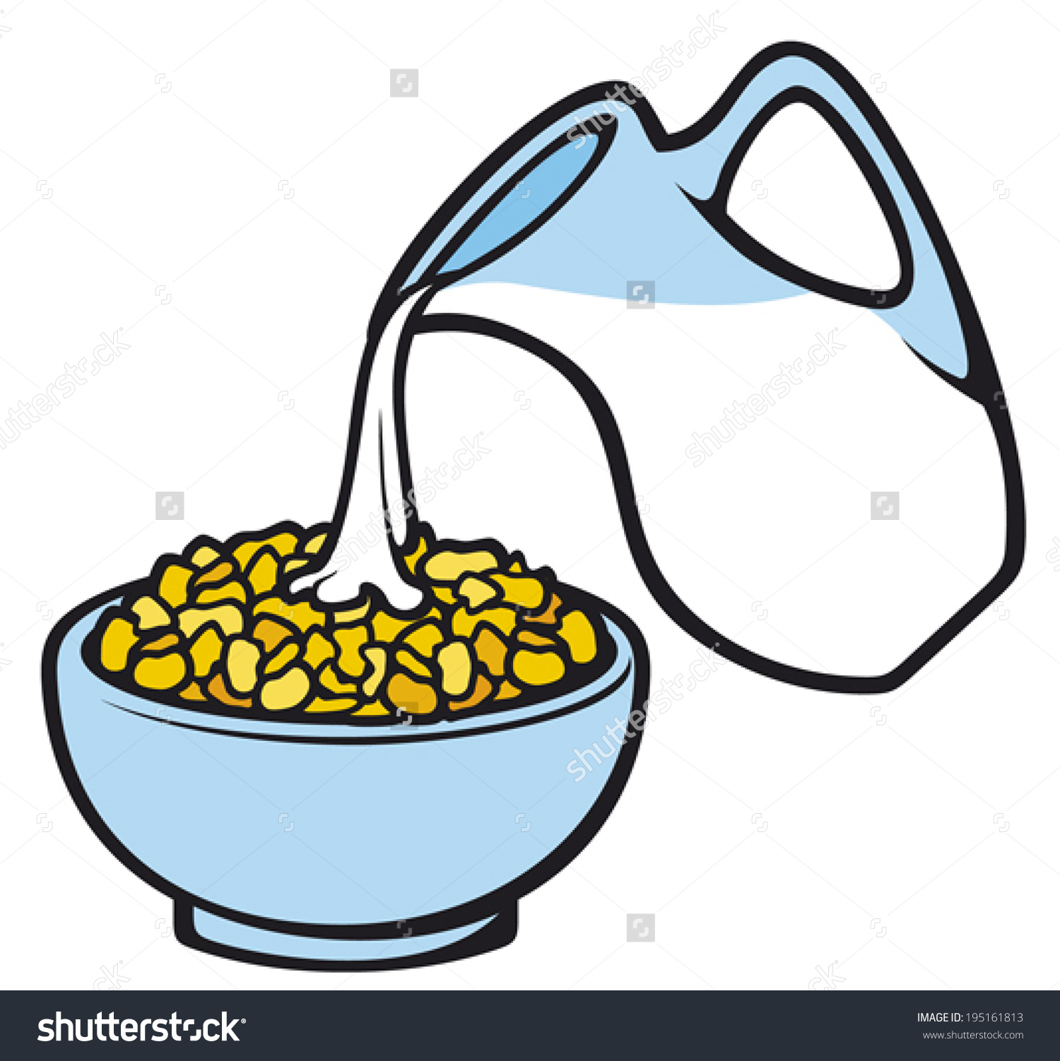 Milk and cereal clipart not in bowl.