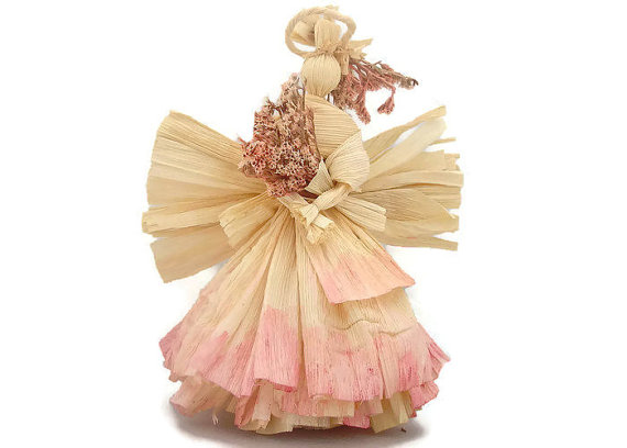 Tree Top Angels Corn Husk Pink Art Doll by ArtDollsNaturally.