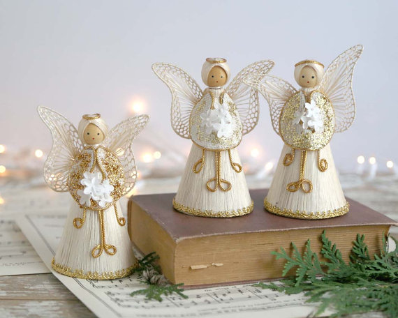 Items similar to Vintage Corn Husk Angel Christmas Decorations.