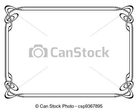 Clipart Vector of art nouveau black ornamental decorative frame.
