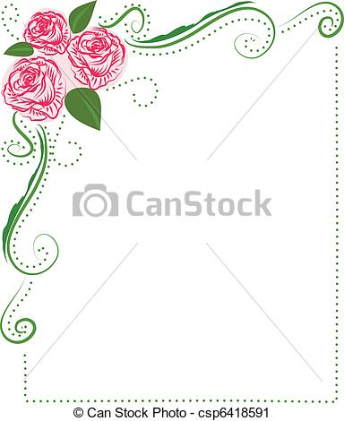 Clipart vettoriali di rose, cornice.