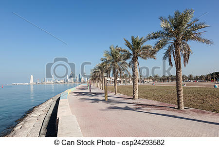 Pictures of Corniche in Kuwait City, Middle East csp24293582.