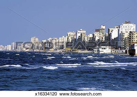 Stock Photography of Alexandria city skyline and El Corniche.