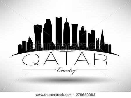 Qatar black and white clipart.
