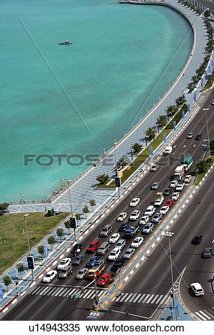 Stock Image of red, dhabi, traffic, road, corniche, light, abu.