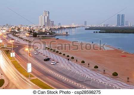 Picture of Corniche in Ras al Khaimah at dusk.