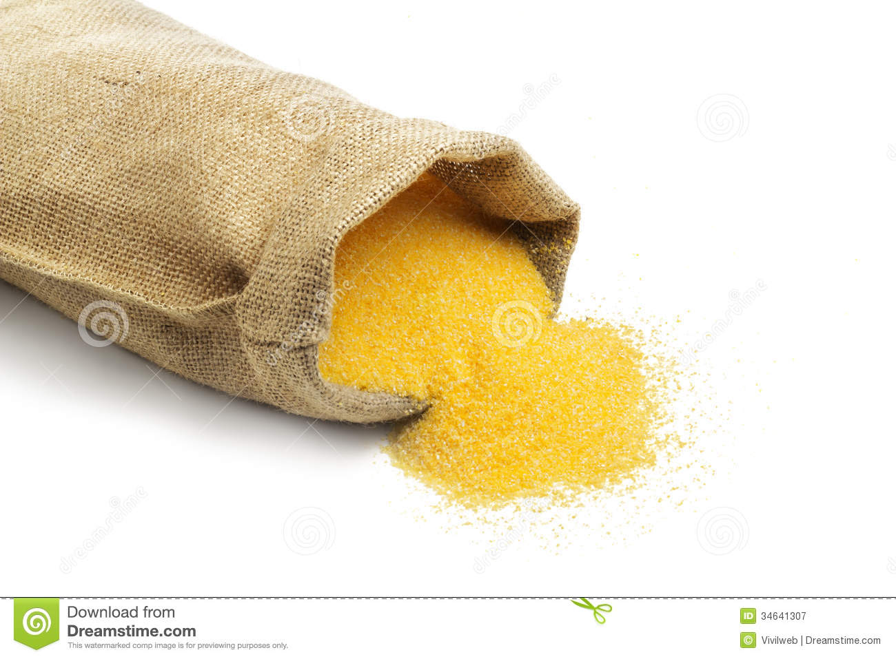 Canvas Bag With Cornmeal. Stock Photo.