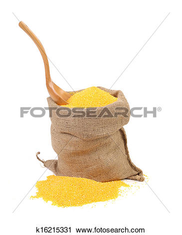 Stock Photography of Corn meal in bag with spoon. k16215331.