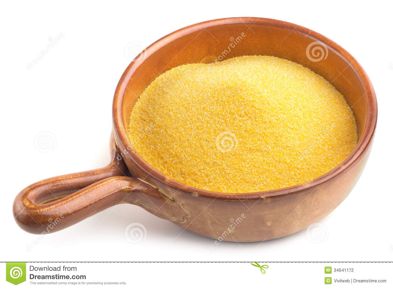 Earthenware Bowl With Cornmeal Stock Photography.