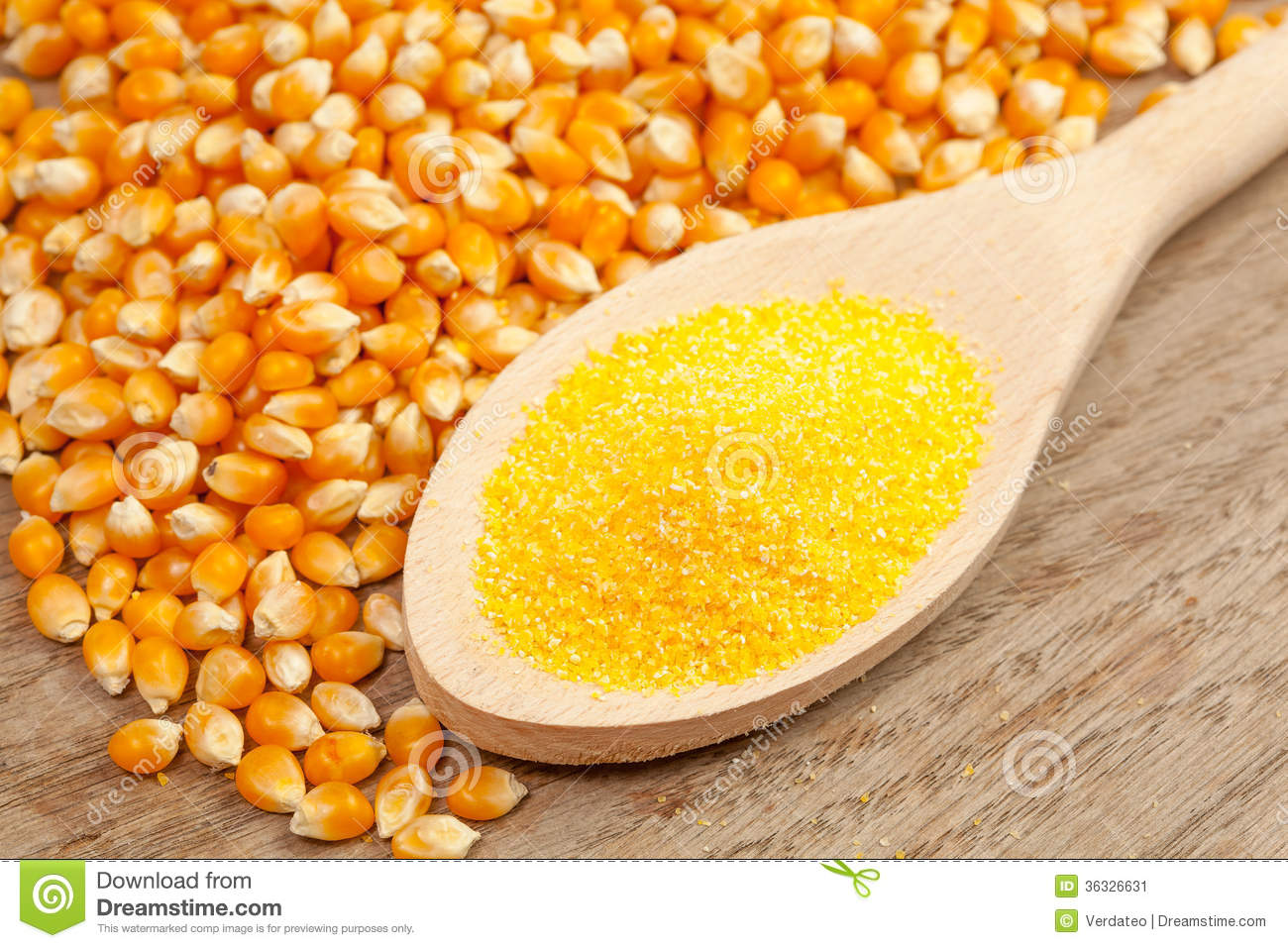 Spoon With Corn Meal Stock Image.