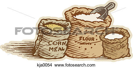 Drawings of Cornmeal, flour, and sugar kja0054.
