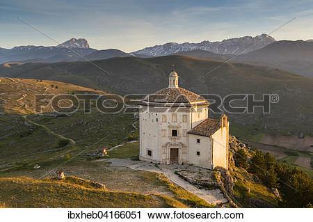Stock Photography of Santa Maria della Pieta, Calascio, Corno.