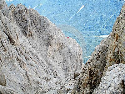 Rocky Peak Of Corno Grande Apennine Mountain Range Stock Photo.