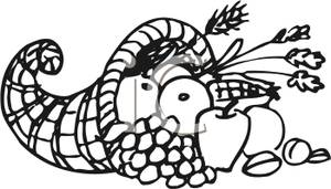 Cornucopia Clip Art Black And White.