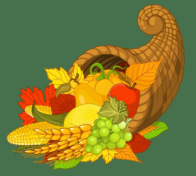 Happy Thanksgiving Cornucopia Front View transparent PNG.