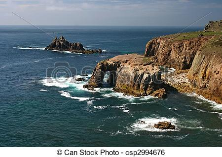 Stock Image of Enys Dodnan and armed Knight Lands End Cornwall.