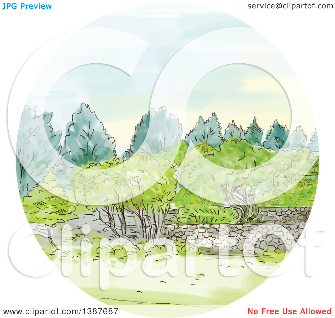 Clipart of a Watercolor Styled Cornwall Park Landscape in a Circle.