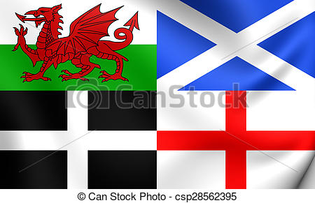 Stock Illustration of Flag of Wales, Scotland, Cornwall and.