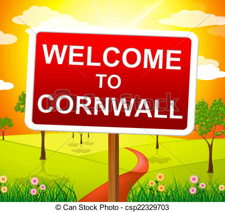 Stock Illustration of Welcome To Cornwall Shows United Kingdom And.