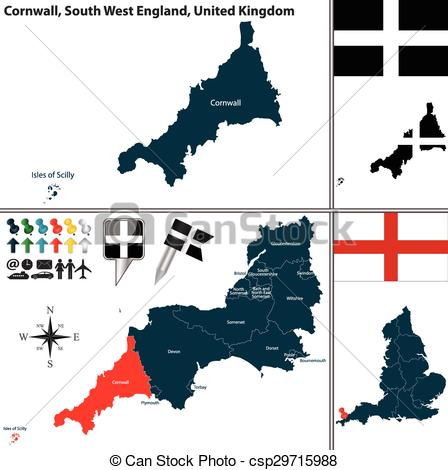Vector of Cornwall, South West England, UK.