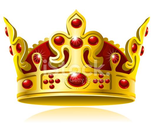 Coroa DE Ouro Com Gemas Vermelhas Stock Vector.