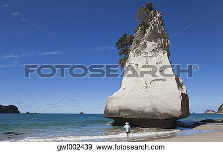 Stock Photograph of New Zealand, Coromandel Peninsula, Cathedral.