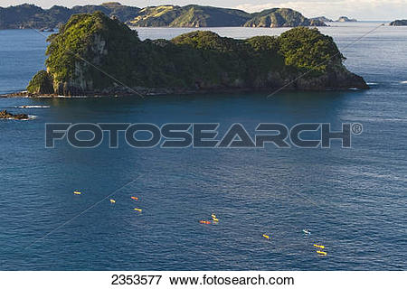 Picture of High Angle View Of Kayaks Paddling In The Coromandel.
