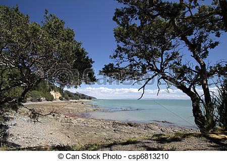 Stock Photography of Coast line near Thames, Coromandel Peninsula.