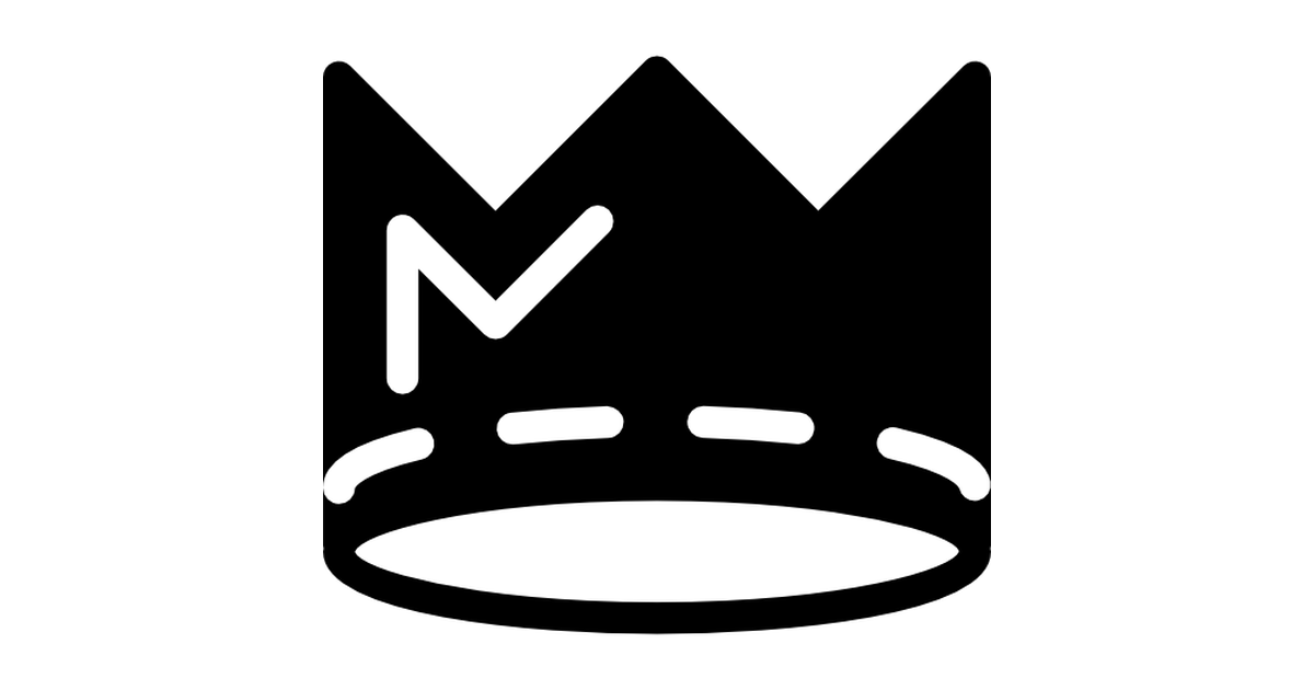 Crown silhouette with white line details.