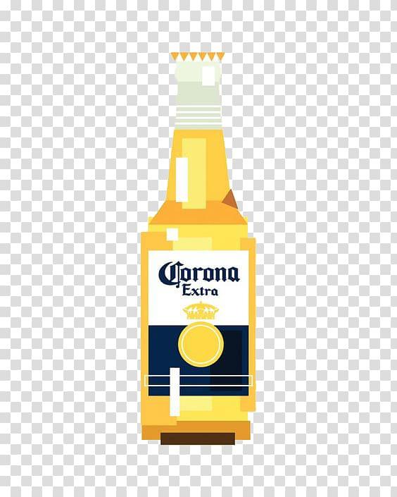 Corona Extra bottle illustration , Lager Beer bottle Corona.