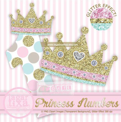 Numeros 0 al 9 y Corona Princesa, Clipart, PNG, Efecto.
