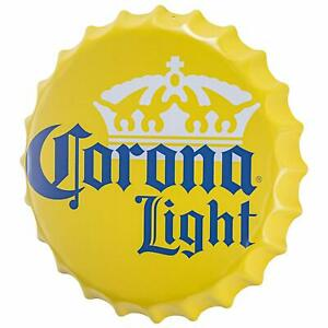 Details about Corona Light Beer Crown Logo Bottle Cap Shaped Metal Sign  Game Room Man Cave Bar.