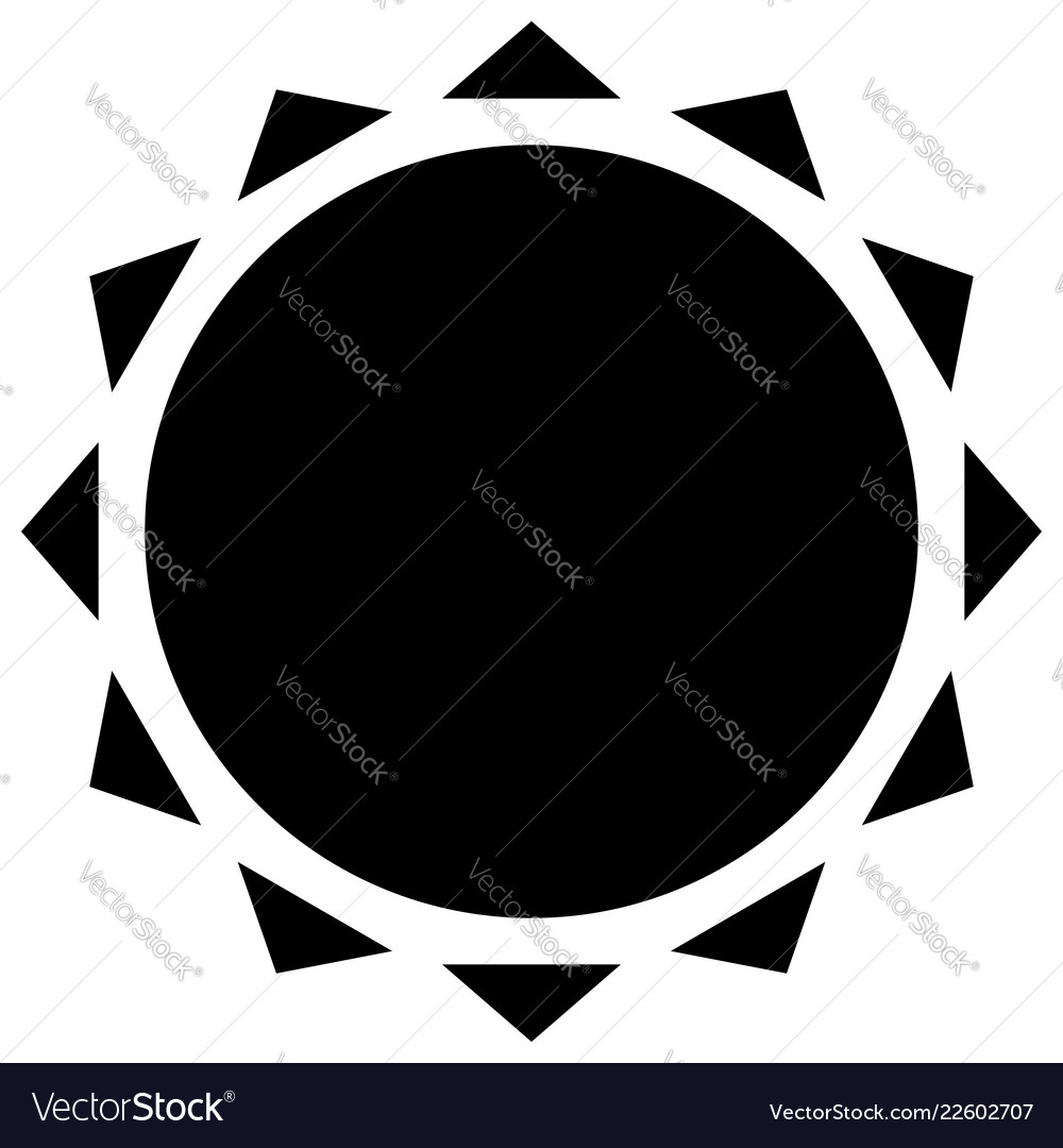 Sun with corona icon simple geometric clip art.