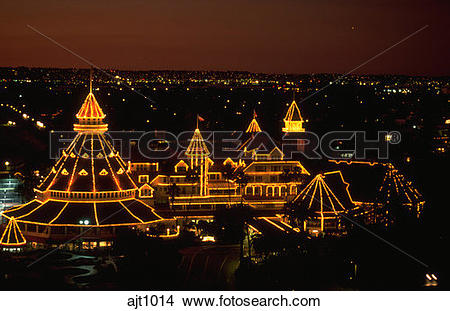Stock Photo of Lights decorating the Hotel del Coronado at night.