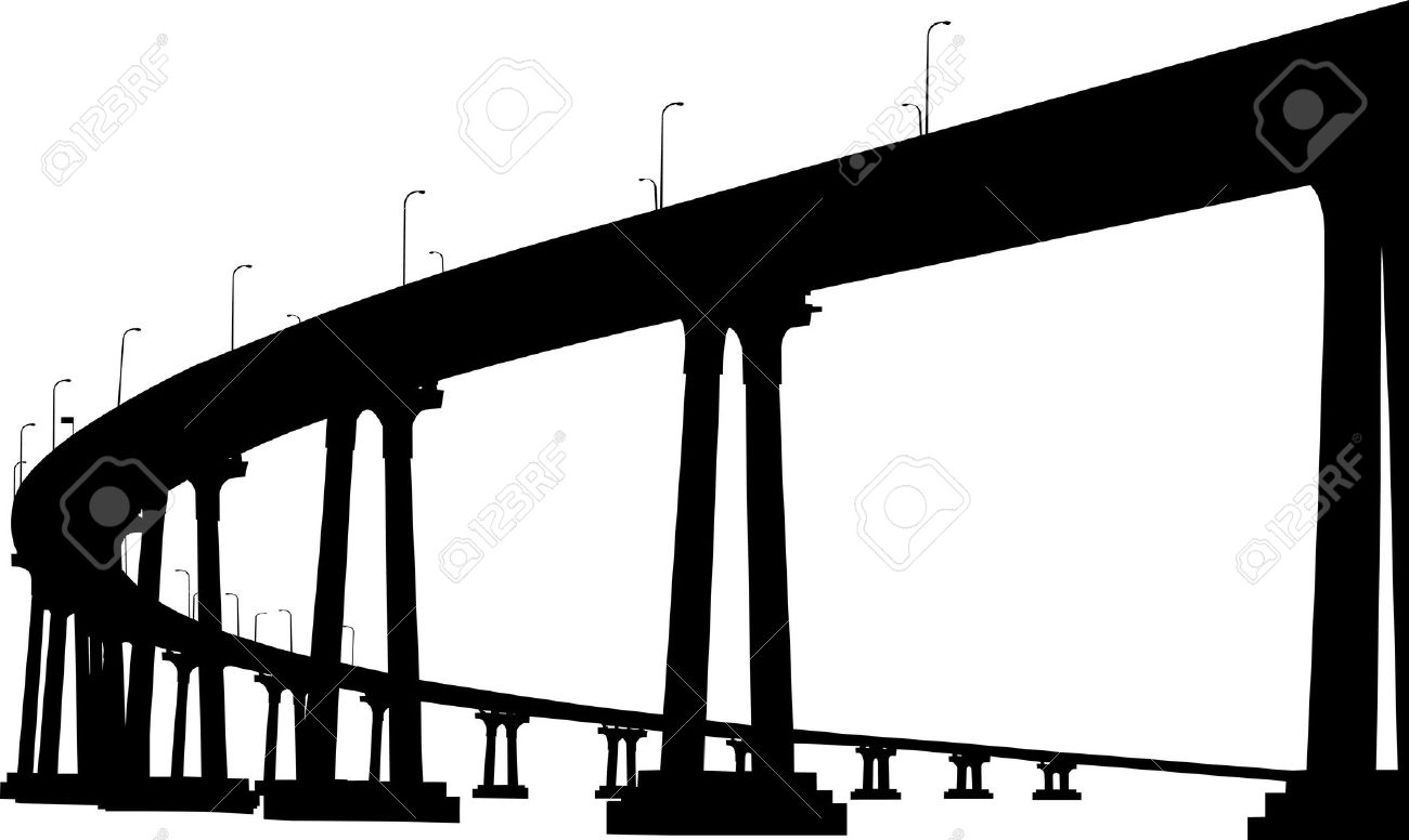 Silhouette Of San Diego Coronado Bridge Royalty Free Cliparts.