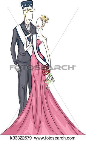 Clip Art of Couple King Queen Homecoming Coronation k33322679.