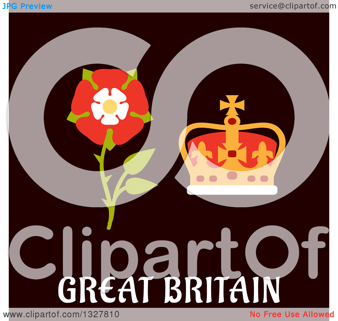 Clipart of a Flat Design Great Britain Tudor Rose and Coronation.