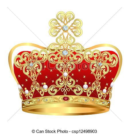 Vector Illustration of royal gold crown with jewels.